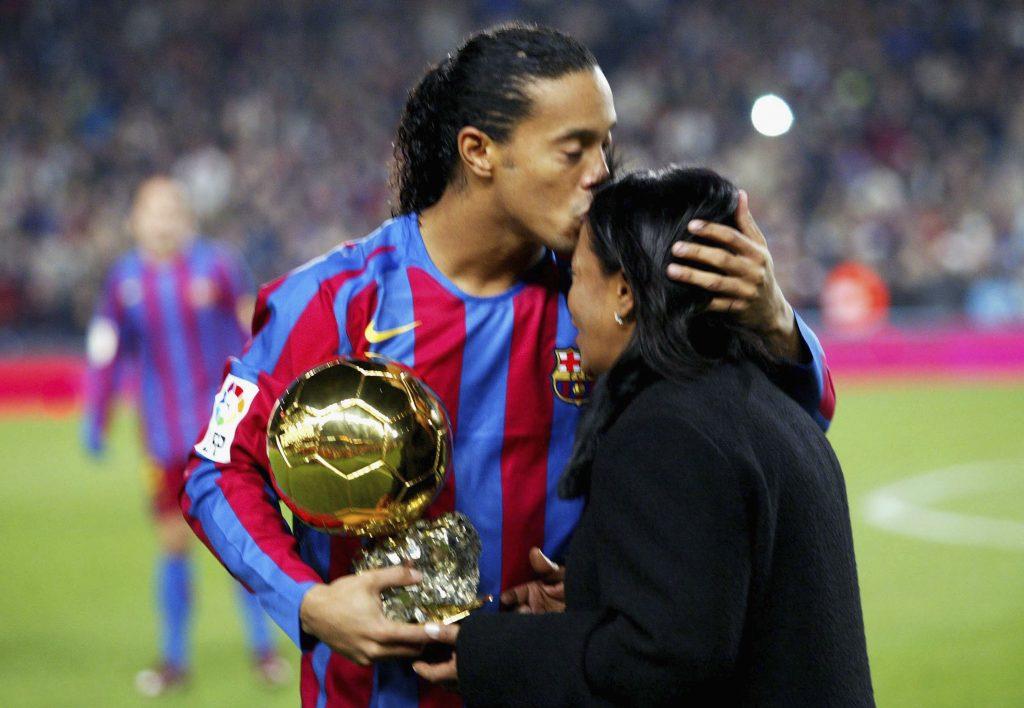 Ronaldinho with his mother