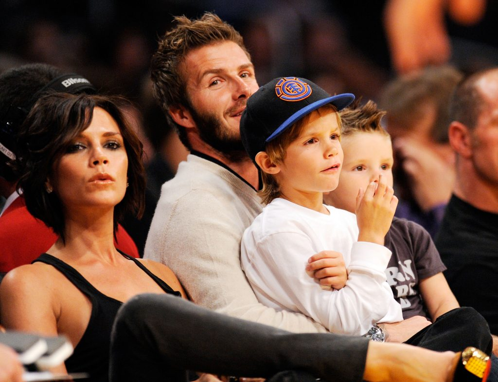 David Beckham with his wife Victoria and children