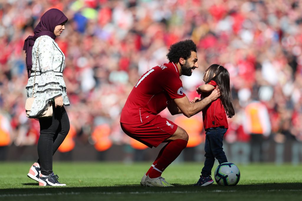 Mohamed Salah with his wife and daughter