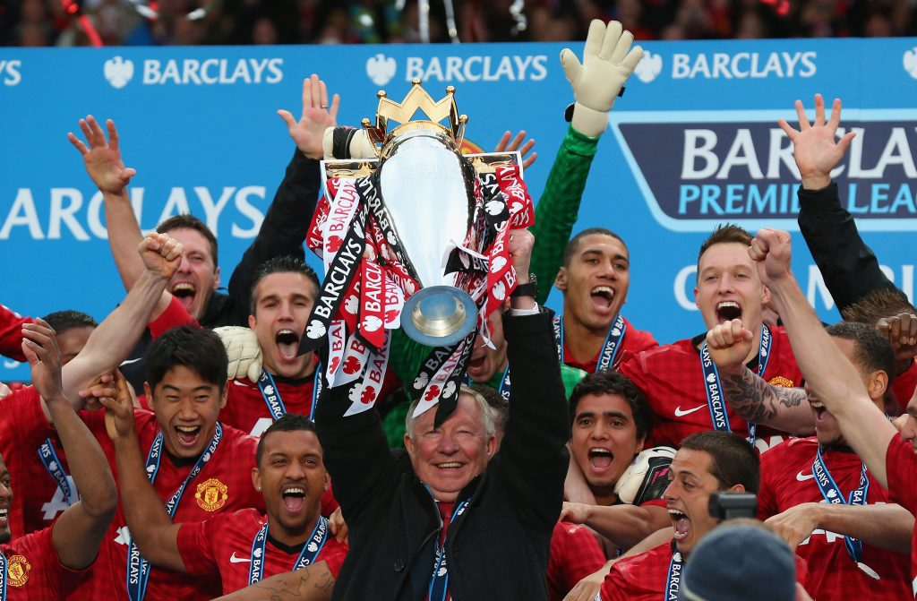 Sir Alex Ferguson celebrates winning the Premier League