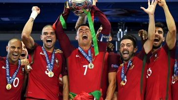 Cristiano Ronaldo celebrates winning Euro 2016