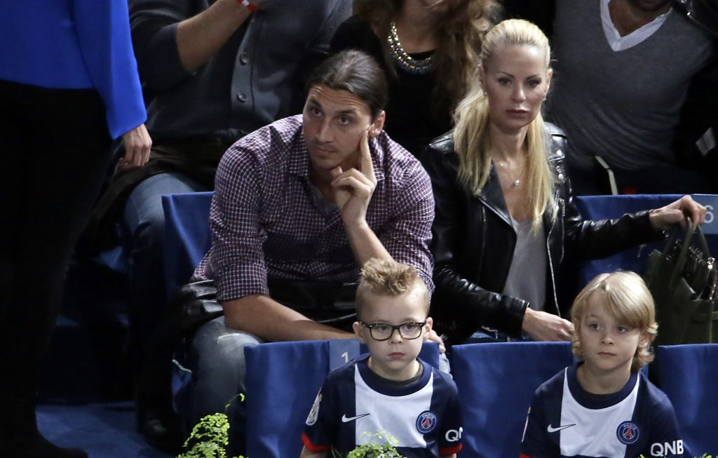 Zlatan Ibrahimovic with his wife and children