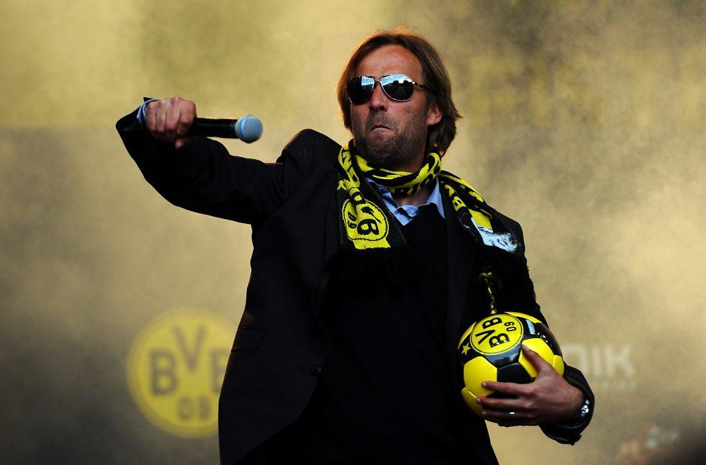 Jurgen Klopp celebrates after winning the Bundesliga with Borussia Dortmund