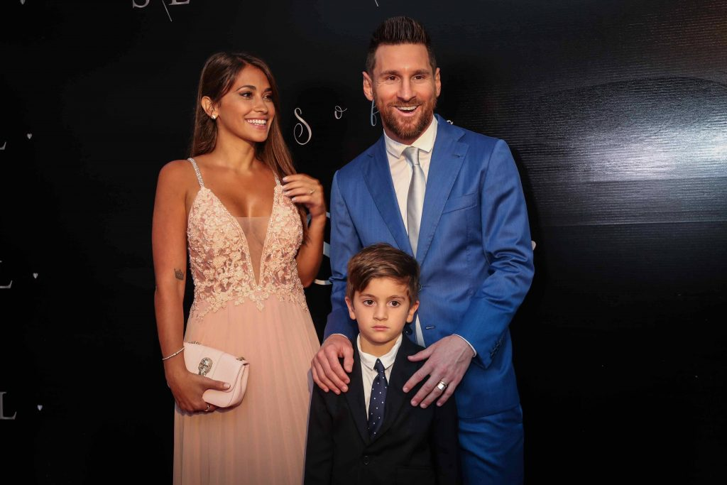Lionel Messi with his wife Antonela Roccuzzo and first of his three children.